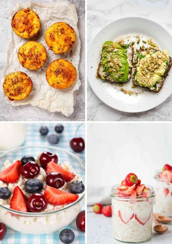 4 HEALTHY BREAKFAST IDEAS EGG MUFFINS, AVOCADO TOAST, BERRIES AND YOGURT AND STRAWBERRY OVERNIGHT OATS