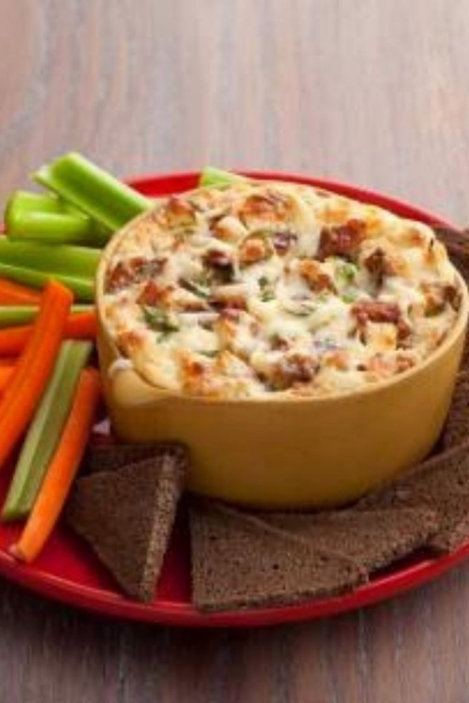 SWISS AND BACON DIP WITH CELERY AND CARROTS