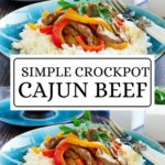 If you love an easy crockpot recipes, you will love this 6 ingredient crockpot Cajun Beef! Not only is this cajun beef a healthy crockpot recipes, it's super delish! Double it and have leftovers or lunches for the week! This crockpot recipe is also healthy, clean eating, and super simple to prepare. Click through to grab the easy recipe and don't forget to Pin It! #recipesforweightloss #slowcookermeals #easycrockpotmeals #easyslowcookermeals