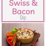 Need a dip to watch the game or bring to a friend's house? This hot dip recipe is always a HIT! This is a wonderful appetizer to serve around the holidays as well! Everyone is happy with this creamy dip with load of bacon and swiss cheese! #partydip #easydip #easyappetizer #partyfood