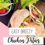Need a quick and simple dinner idea? These easy greek chicken pitas require almost zero work at all! We take a little help from the store with this easy chicken dinner. These pitas have delicious chicken topped with store-bought tzatziki sauce and stuffed with crisp veggies. Dinner will be on the table in less than 15 minutes! Amen! #easydinnerrecipes #chickenrecipes #quickandeasycooking