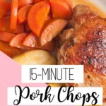 Looking for a delicious fall dinner recipe? This quick and easy pork chops recipe will be on the table in way less than 30 minutes. Healthy and low carb, this recipe is both family-friendly and kid-friendly! Pork chops might be old school, but this pork chop recipe will have you making this again and again! #healthyporkchoprecipe #heathydinnerideas #easyrecipes #30minutemeals