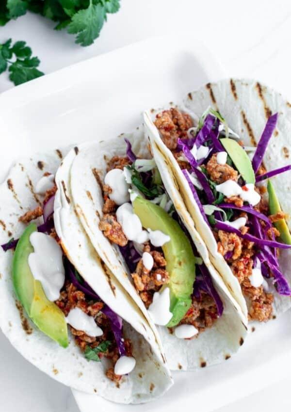 Spicy Ground Pork Tacos with Cilantro Slaw