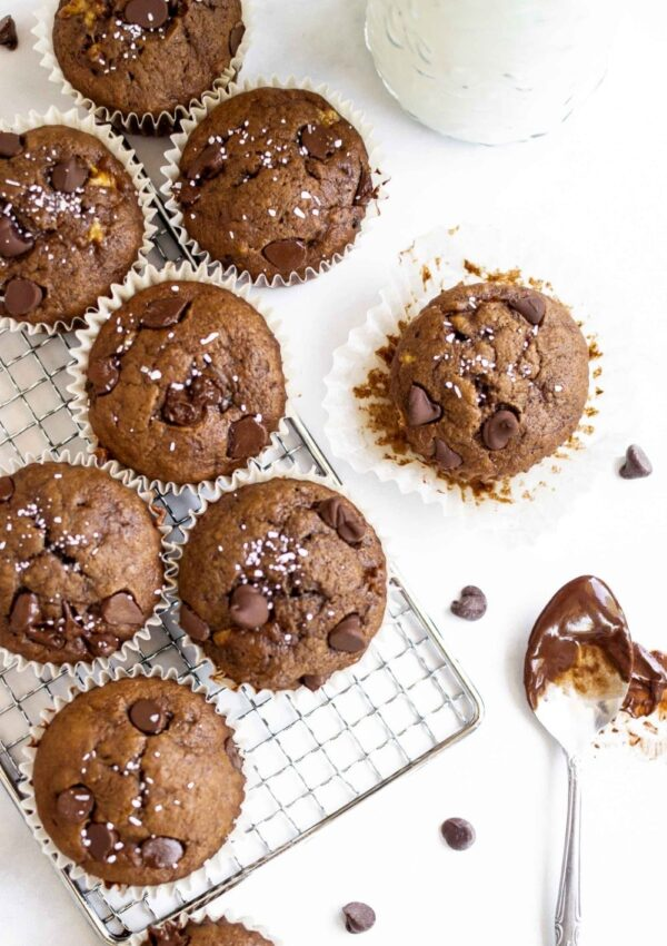 Easy Double Chocolate Banana Muffins