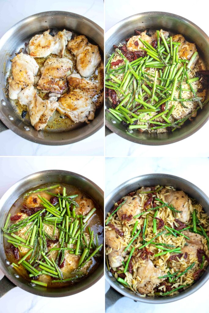 How to make Creamy Chicken with Orzo --4 steps. Chicken, chicken with asparagus and sun dried tomatoes, add stock, completed dish.
