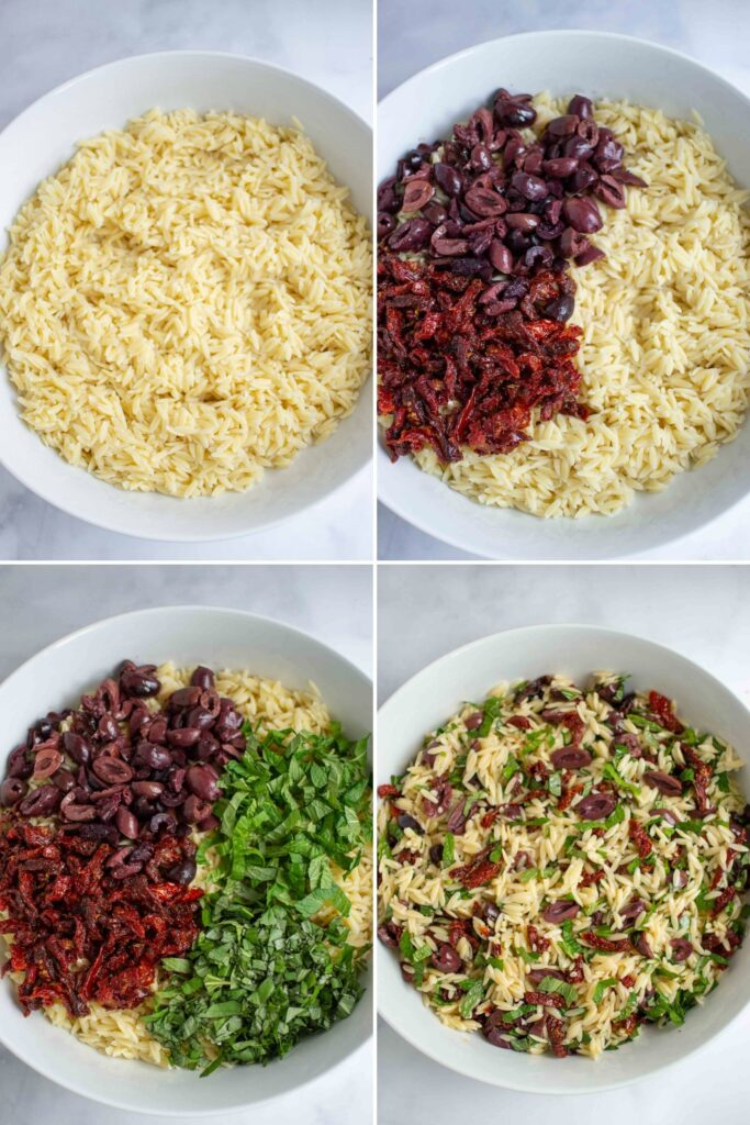 Step by step Orzo Salad: orzo, orzo and sun dried tomatoes and olives, with herbs and tossed with dressing.
