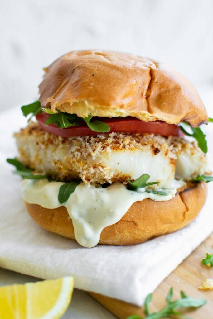 Air Fryer Fish Sandwich with arugula, tomato and lemon mayo