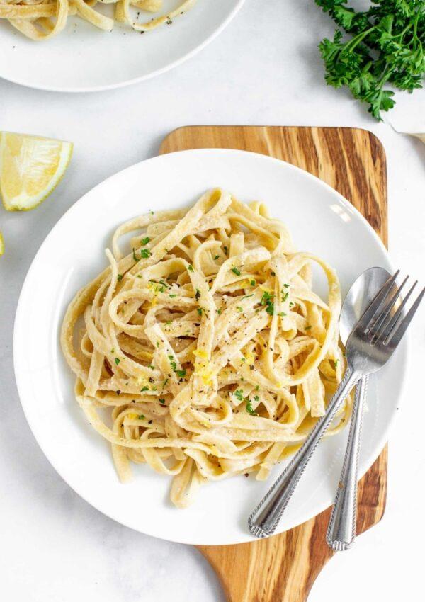 Creamy Tahini Pasta with Lemon and Garlic