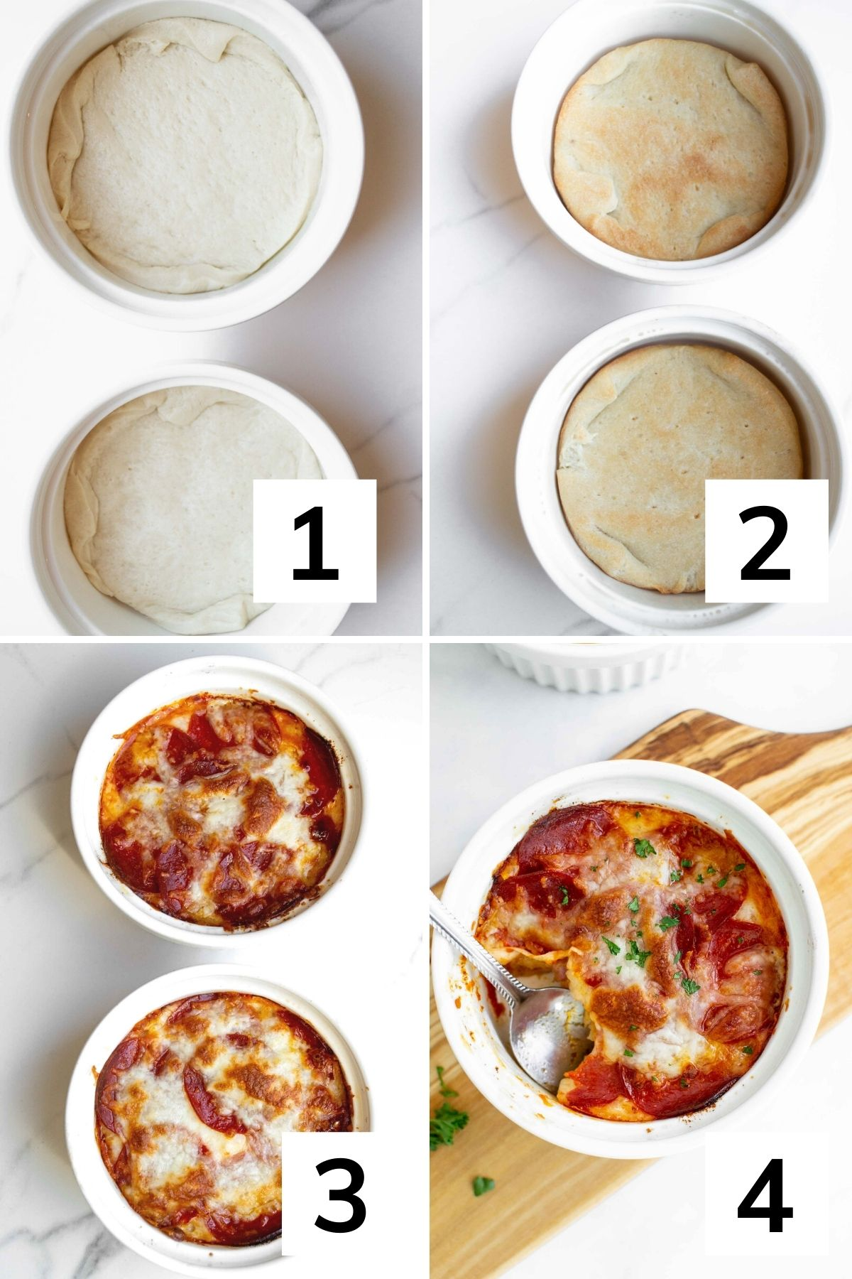 How to make pizza bowls with a crust--step by step instructions.