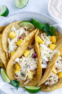 Crockpot Hawaiian Chicken Tacos