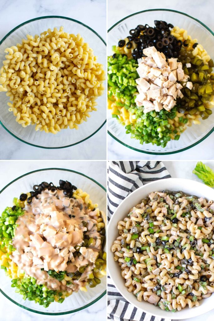 4 pictures of step by step instructions about how to make the macaroni salad