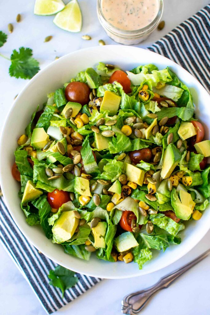 Simple Southwest Salad in a bowl with Creamy Chipotle Dressing