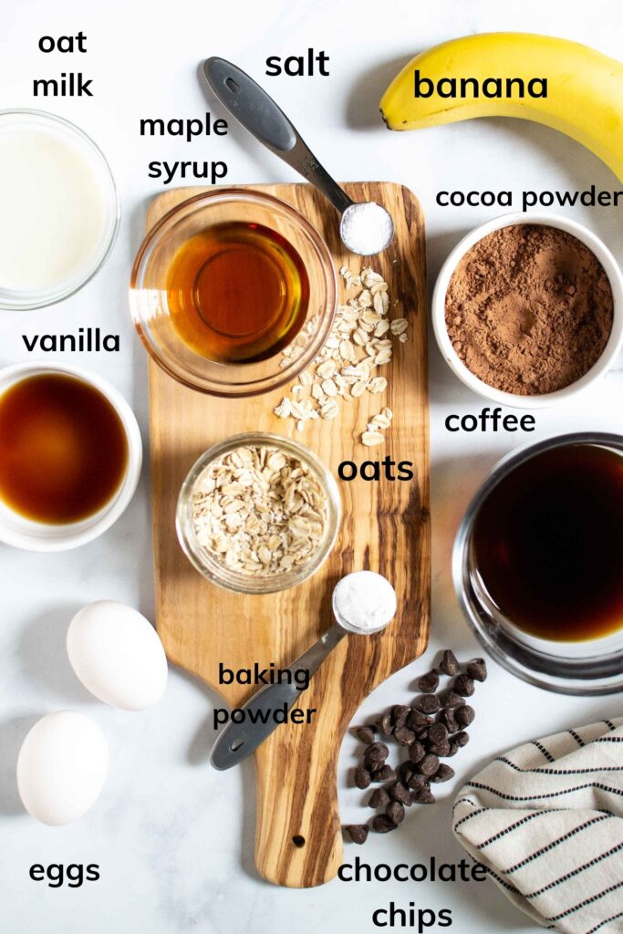 Ingredients to make Chocolate Baked Oats
