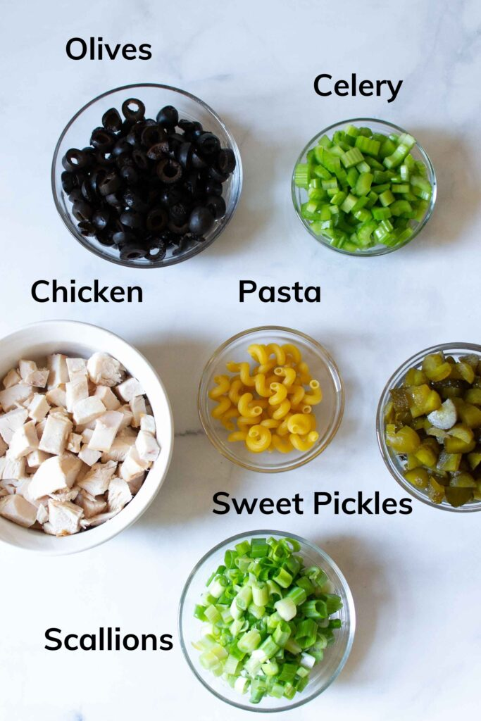 Ingredients needed for BBQ Chicken Macaroni Salad