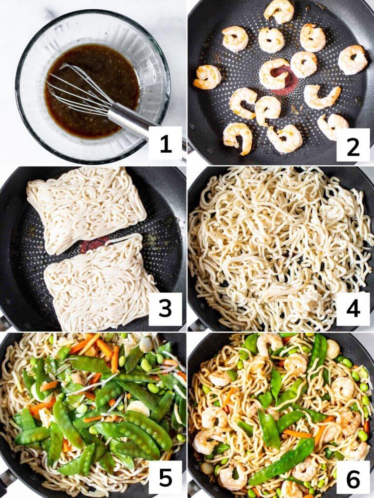 How to make shrimp Yaki Udon step by step.