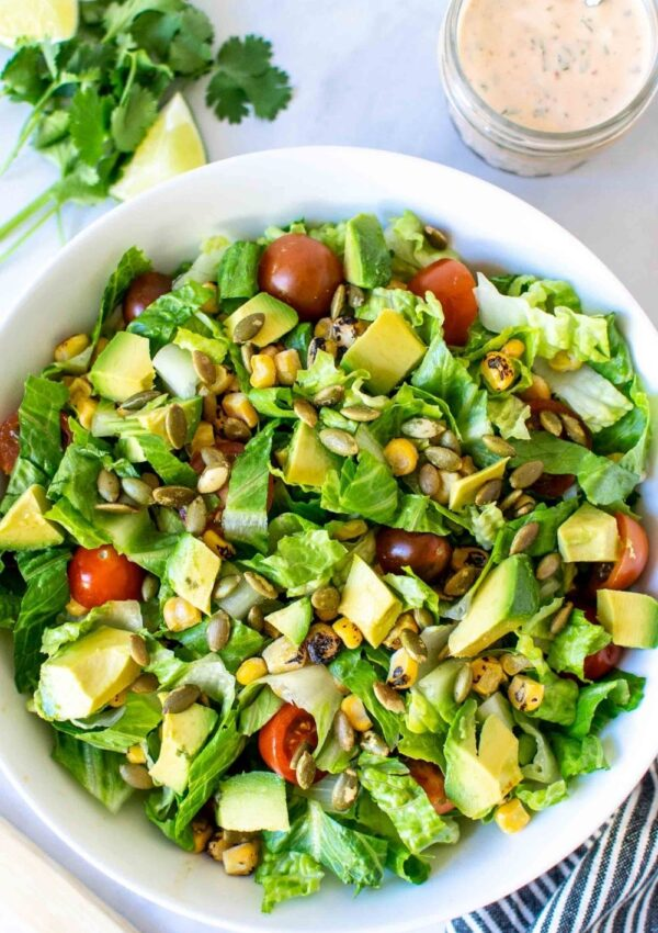 Simple Southwest Salad with Creamy Chipotle Dressing