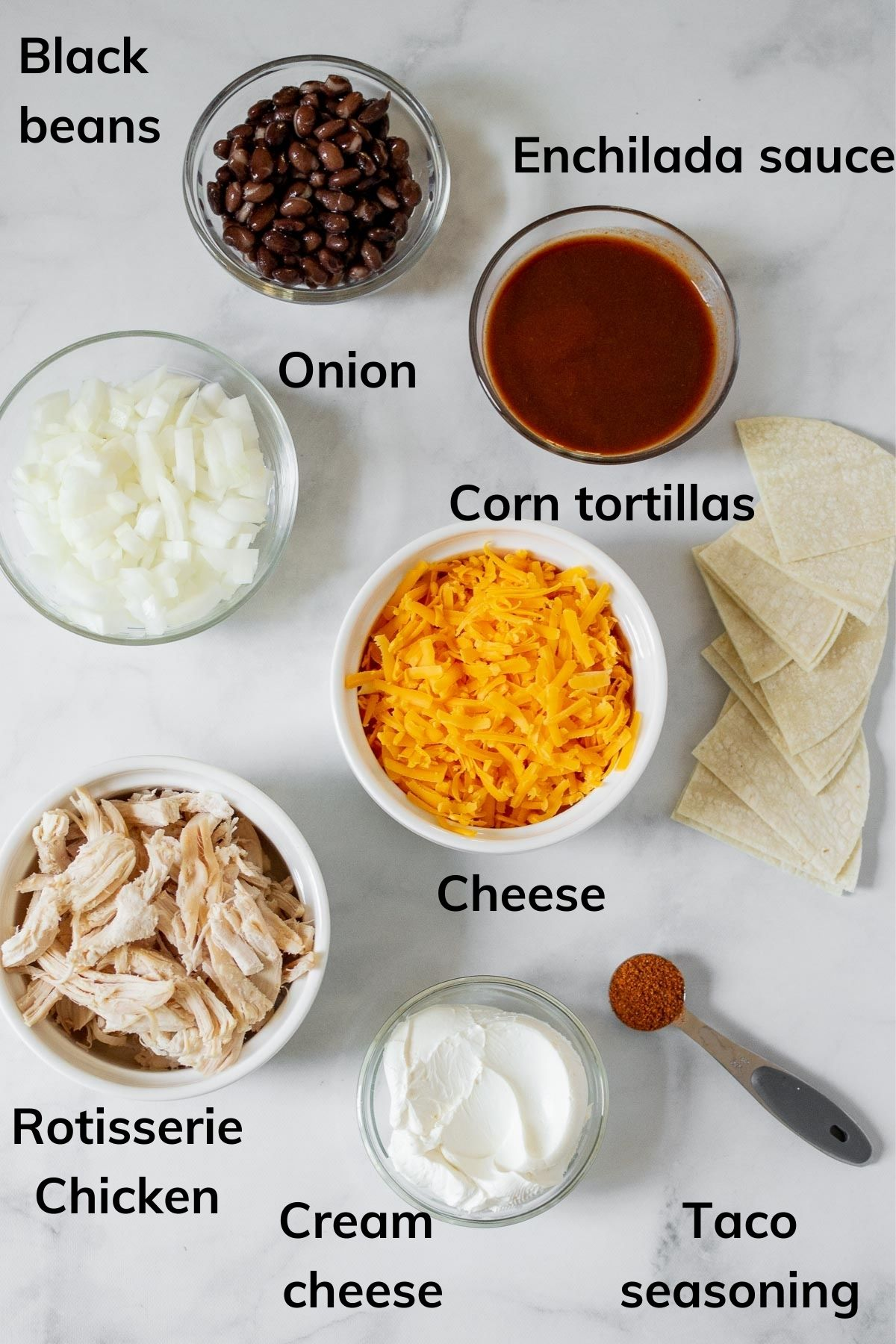Ingredients needed to make this chicken enchilada skillet