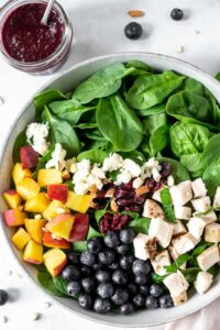Peach and Blueberry Salad with Blueberry Vinaigrette