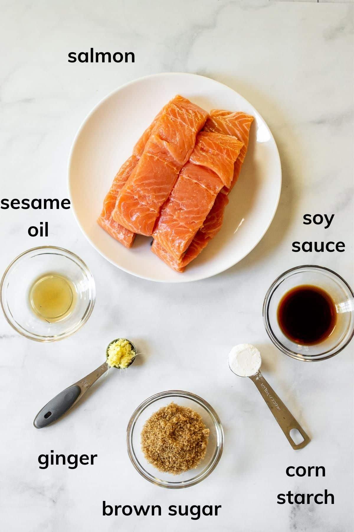 Ingredients to make Teriyaki Salmon in the air fryer
