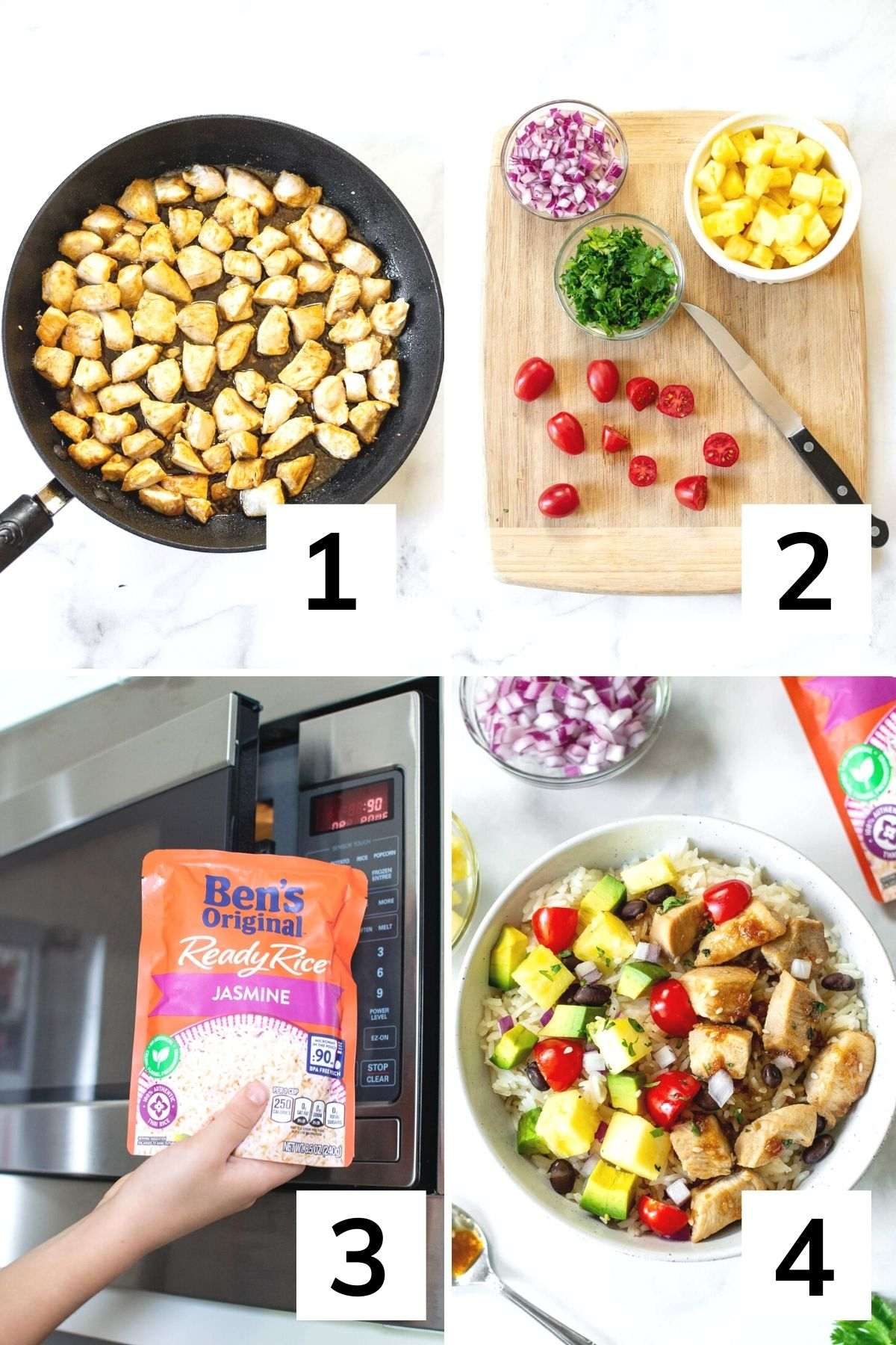 How to make Hawaiian chicken bowls step by step