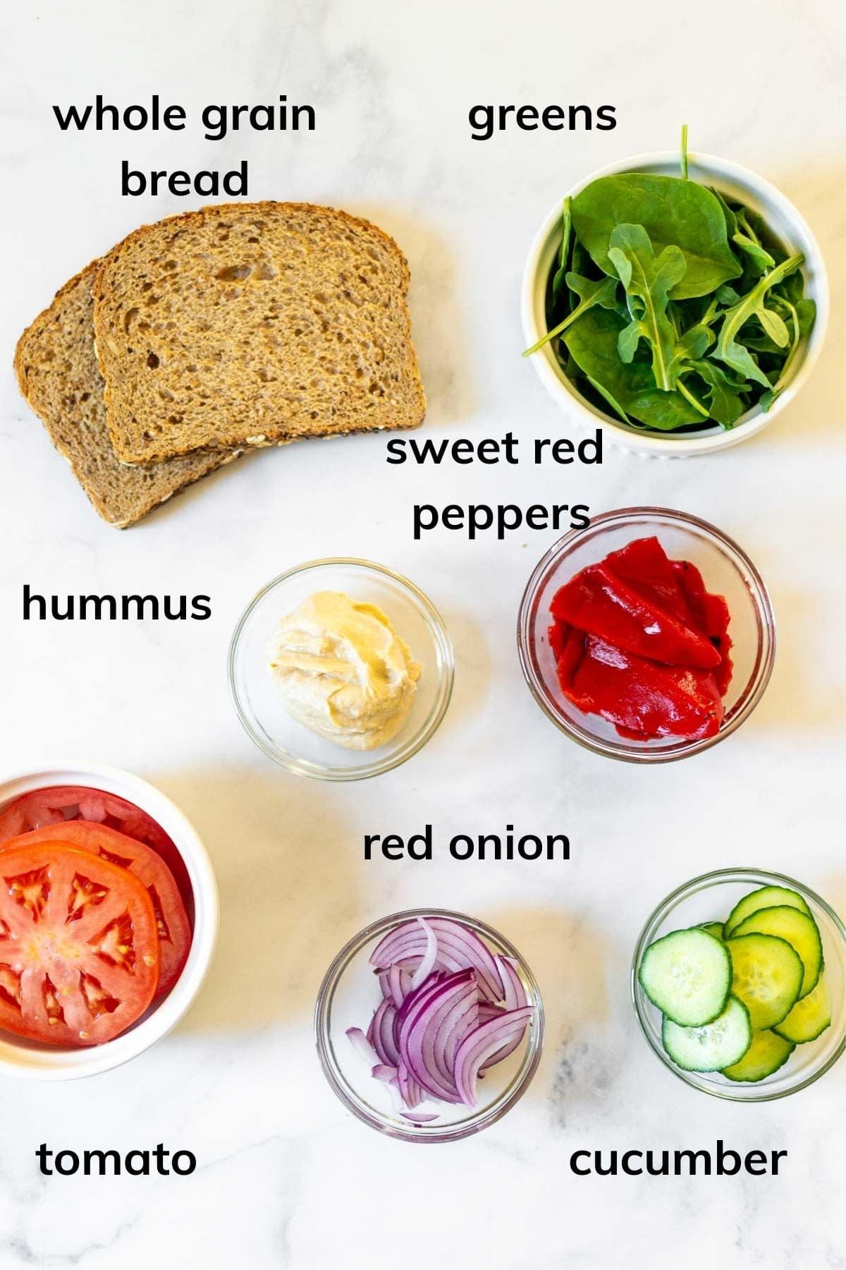 Ingredients needed to make copycat Panera Mediterranean Veggie Sandwich
