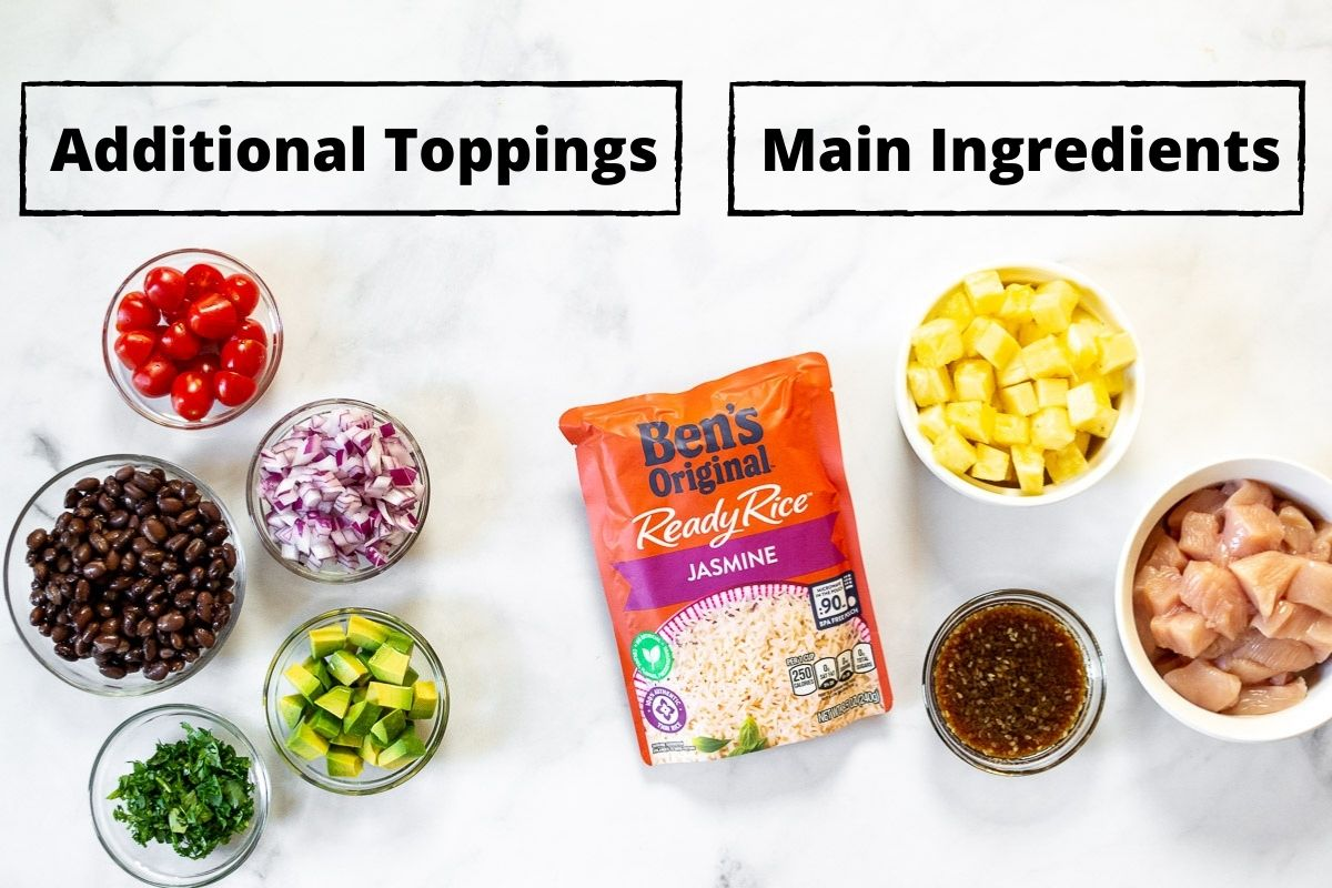 Ingredients needed to make Hawaiian chicken bowls