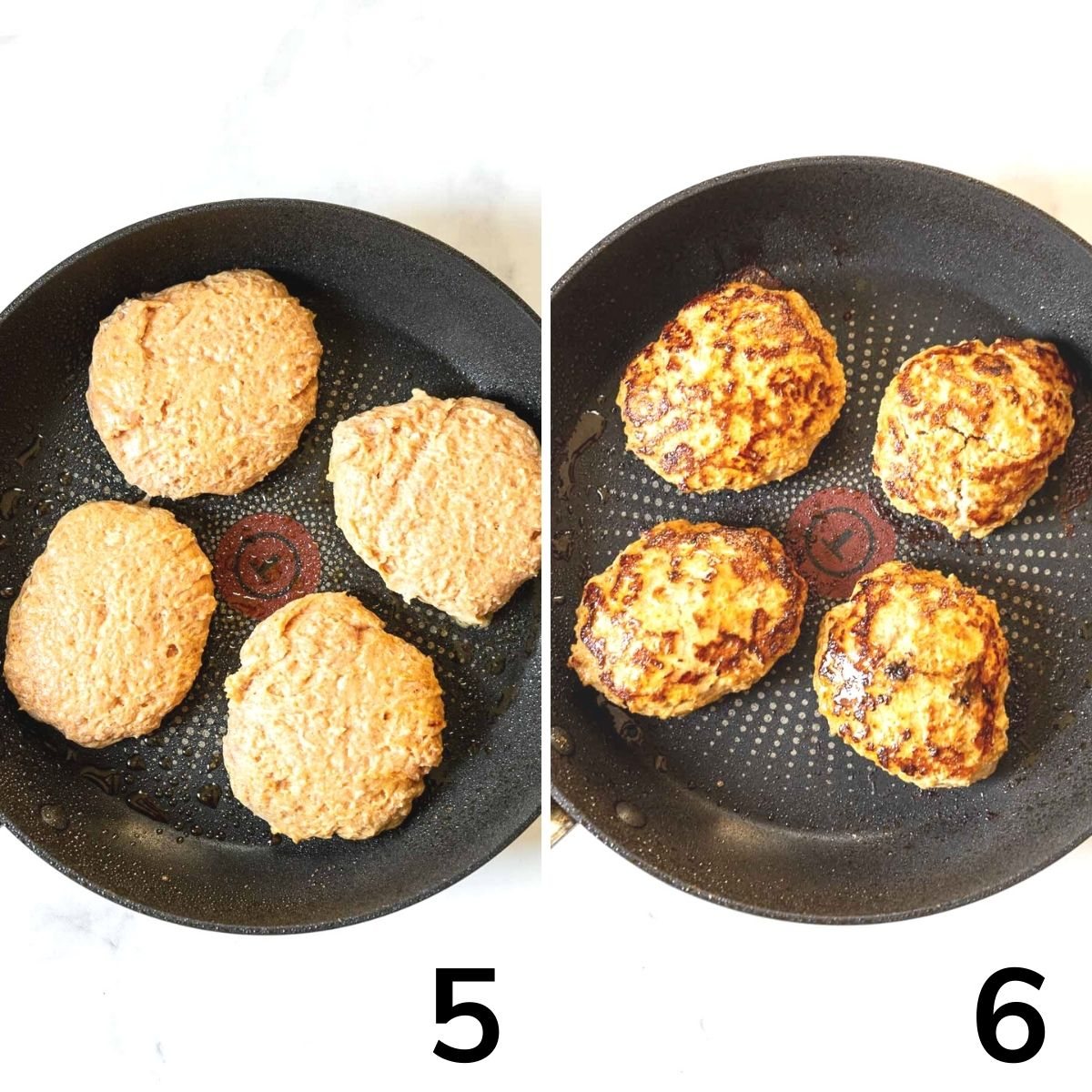 Spicy turkey burgers in a skillet--one picture are raw burgers, next picture is cooked burgers.