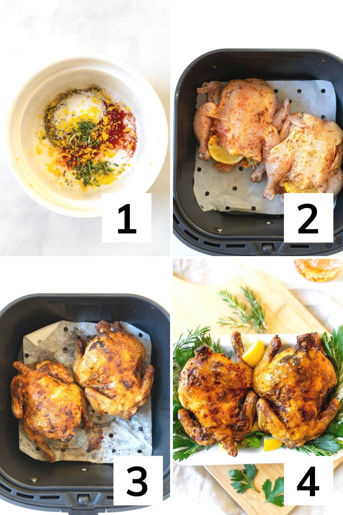 How to make Cornish game hens in the air fryer step by step