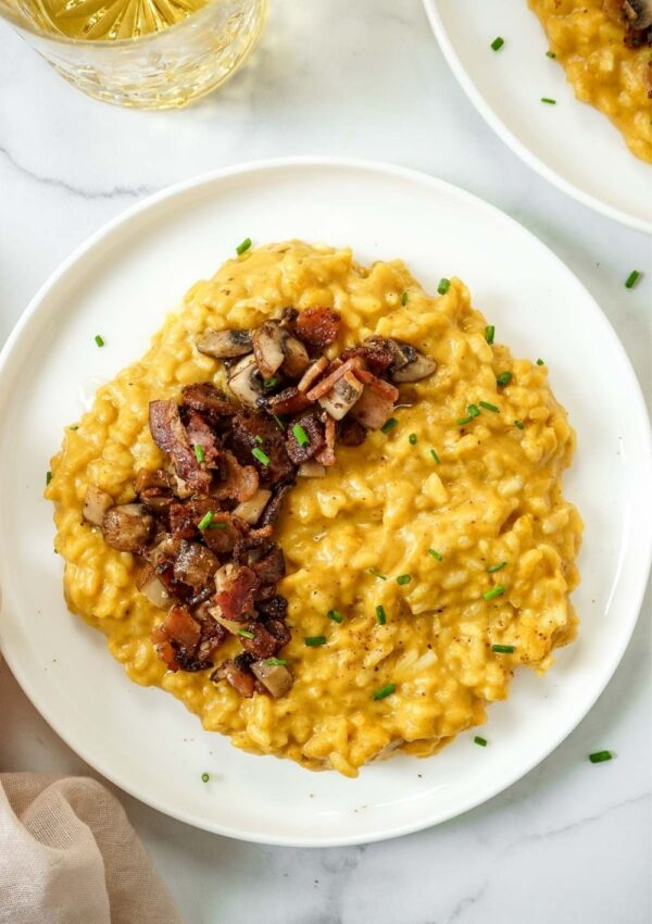 Pumpkin Risotto with Mushrooms and Bacon (without wine)