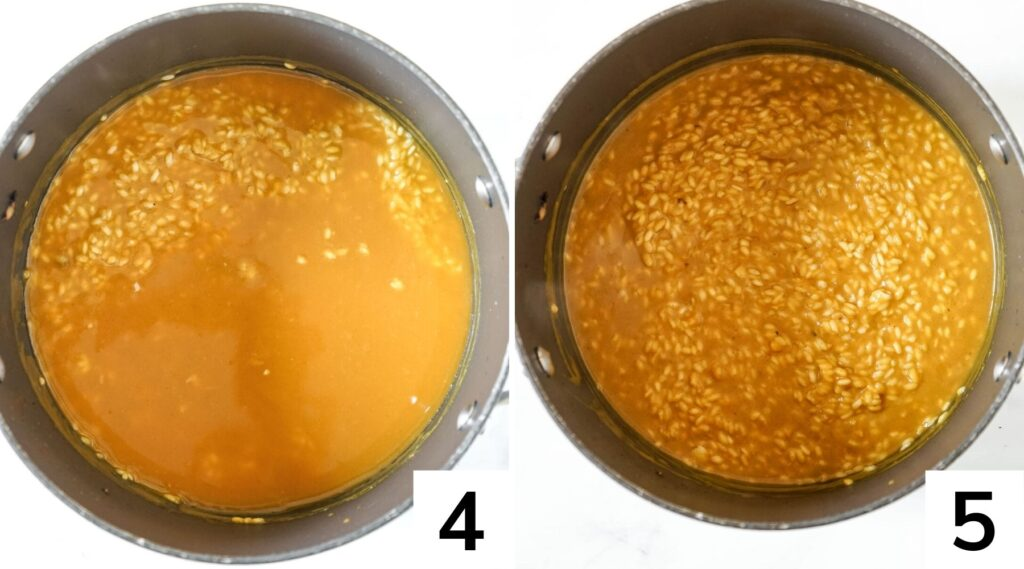How to make pumpkin risotto step by step, before and after stirring.