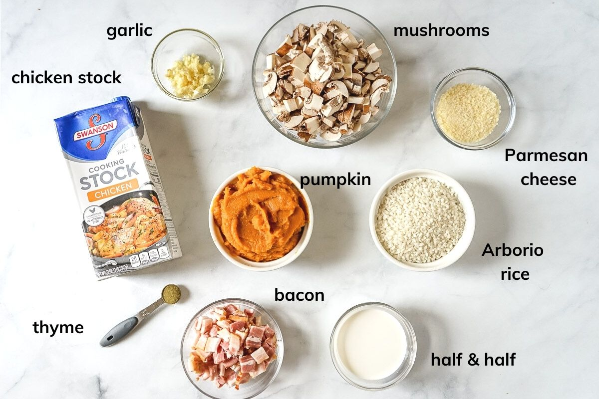 Ingredients needed to make pumpkin risotto with mushrooms and bacon.