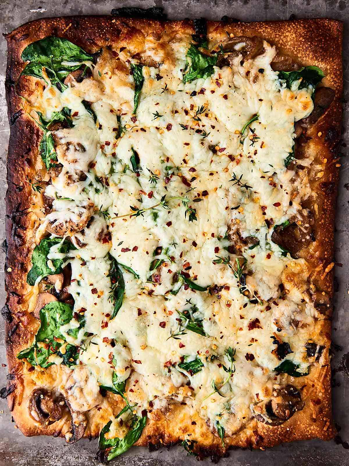 Rectangle pizza with cheese, mushrooms and herbs.
