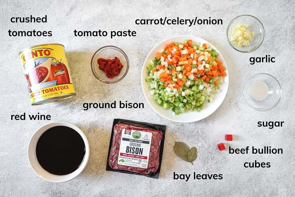Ingredients to make bison bolognese in the slow cooker.