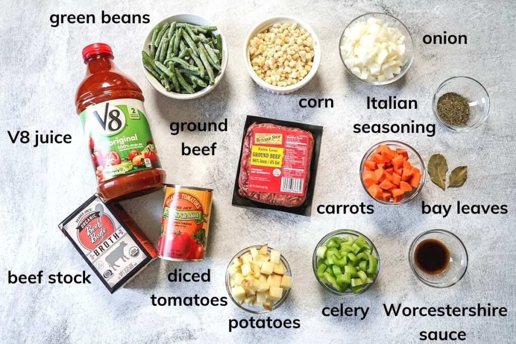 Ingredients needed to make Vegetable Beef Soup with V8 Juice included.
