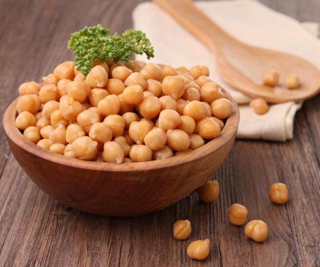 Chickpeas in a wooden bowl.