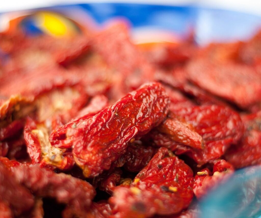 Sun dried tomatoes in a bowl.