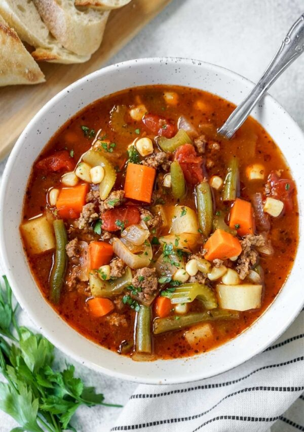 Easy Vegetable Beef Soup (with V8 juice)