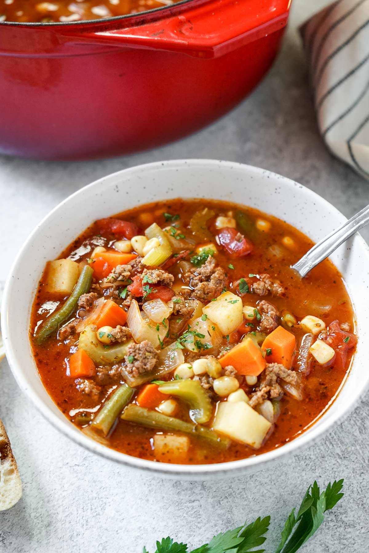 Vegetable Beef Soup in a bowl with a spoon and red pot in the background.